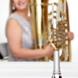 Joanna Sitting with Mouthpiece in front